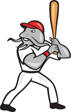 hitter: Illustration of a catfish baseball player batter hitter batting viewed from side set inside shield crest shape done in cartoon style isolated on white background.