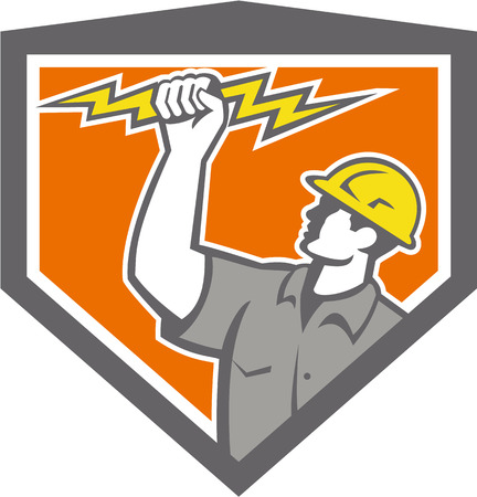 흰색 배경에 격리 된 복고 스타일을 이루어 방패 문장 안에 설정 번개를 들고 전기 건설 노동자 지배의 그림입니다.