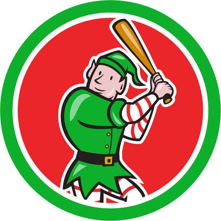 bateo: Ilustraci�n de un jugador de b�isbol bateador bateo con el bate bateador elf hecho en estilo de dibujos animados conjunto dentro cirle aislados sobre fondo blanco.