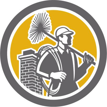 Illustratie van een schoorsteenveger bedrijf veger en touw van opzij gezien set binnen cirkel op witte achtergrond gedaan in retro stijl.