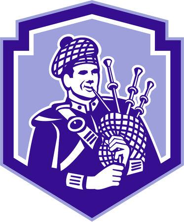 gaita: Ilustraci�n de un gaitero escoc�s tocando la gaita, vistos de frente conjunto dentro de escudo protector en el fondo aislado hecho en estilo retro.