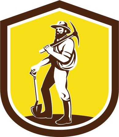 Illustratie van een mijnwerker prospector hoed te dragen die pick bijl op de schouder en houden schop naar de voorkant set binnen schild kuif gedaan in retro stijl op geïsoleerde achtergrond.