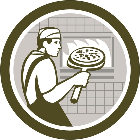 pizza maker: Illustration of a baker pizza maker holding a peel with pizza pie into a brick oven viewed from side done in retro style on isolated white background.