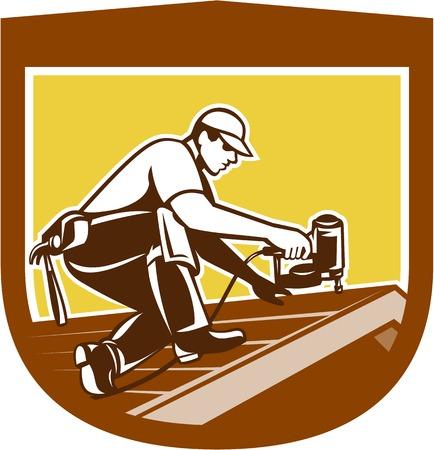 レトロなスタイルで行わ爪銃 nailgun 釘打機との家の屋根に取り組んで屋根ふきの屋根葺き職人の建設労働者のイラスト。  イラスト・ベクター素材