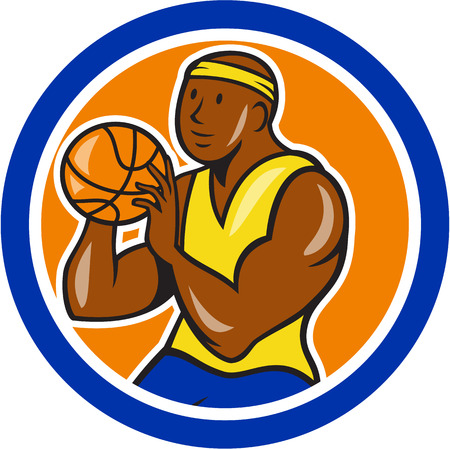 baller: Illustration of an African-American basketball player shooting ball set in circle on isolated white background done in cartoon style. Illustration