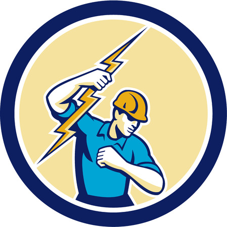 tradesman: Illustration of an electrician construction worker holding a lightning bolt set inside circle done in retro style on isolated white background.