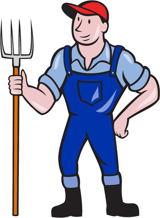 Illustration of organic farmer holding pitchfork facing front standing on isolated background done in cartoon style. Vector