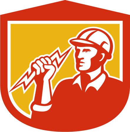 clutching: Illustration of an electrician construction worker clutching holding a lightning bolt set inside shield done in retro style on isolated white background.