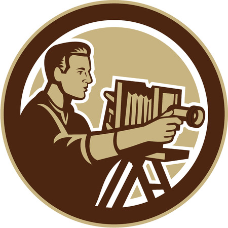 Illustration of a photographer shooting with vintage bellows camera done in retro woodcut style set inside circle. Illustration