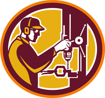 drill: Illustration of a worker at work drilling with drill press viewed from side set inside circle done in retro style on isolated background.