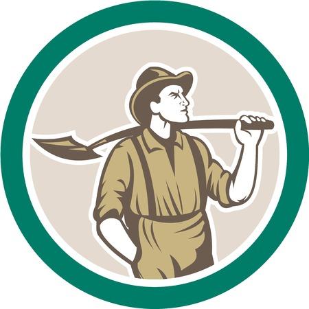 prospector: Ilustración de un minero prospector llevaba sombrero con pala frontal frente conjunto dentro del círculo hecho en estilo retro en el fondo aislado.