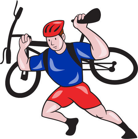 Illustration of a cyclist bicycle carry carrying mountain bike on shoulder running  set inside shield crest shape on isolated background done in cartoon style.