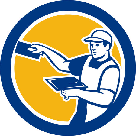 plasterer: Illustration of a plasterer masonry tradesman construction worker with trowel  set inside circle done in retro style on isolated background