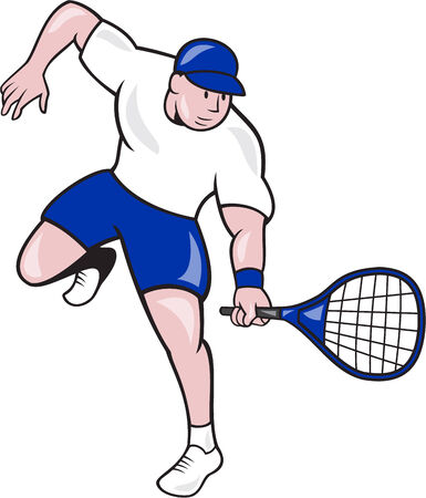 racquet: Illustration of a tennis player holding racquet viewed from front on isolated background done in cartoon style.