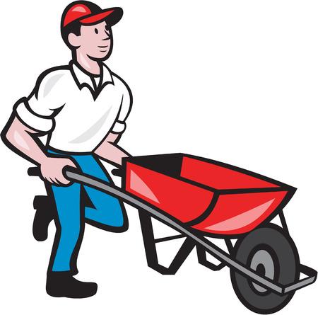 Illustrazione del maschio giardiniere camminare spingendo carriola visto dal lato su sfondo isolato fatto in stile cartone animato.