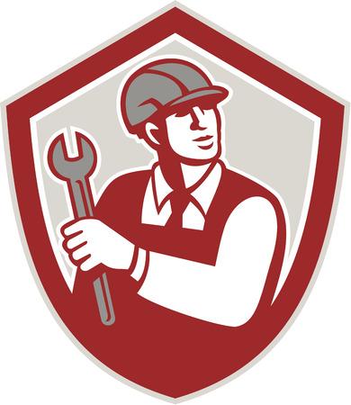 bauarbeiterhelm: Illustration von einem Mechaniker tragen Helm Halteschraubenschl�ssel lookiong bis nach vorne innen Wappenschild auf wei�em Hintergrund im Retro-Stil getan.