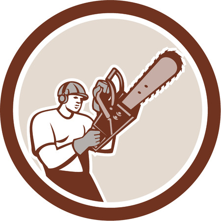 Illustration of lumberjack arborist tree surgeon holding a chainsaw set inside a circle on isolated white background. Illustration
