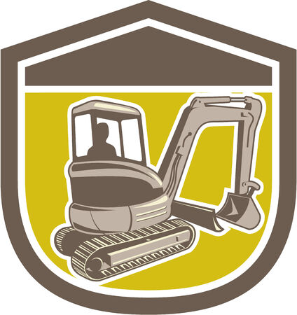 digger: Illustration of a construction digger mechanical excavator set inside shield crest shape on isolated background done in retro style . Illustration