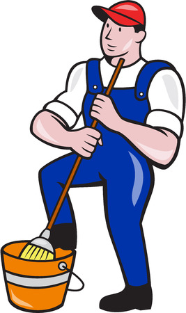 Illustration of a janitor cleaner worker holding mop and with foot on water bucket pail viewed from front done in cartoono style. Illustration