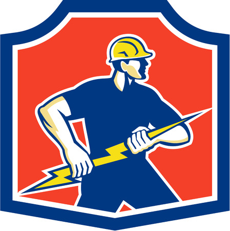 tradesman: Illustration of an electrician holding a lightning bolt facing side done in retro style set inside a crest.