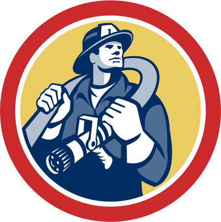 over the shoulder: Illustration of a fireman fire fighter emergency worker holding fire hose over his shoulder viewed from front set inside circle done in retro style.