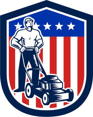 복고풍 목 판화 스타일에서 수행하는 방패 안에 설정하는 미국 국기의 별 줄무늬 잔디 깎는 기계로 깎고 남성 정원사의 그림입니다.