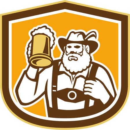 lederhosen: Illustration of a Bavarian beer drinker raising beer mug drinking looking up wearing lederhosen and German hat set inside shield crest shape done in retro style. Illustration
