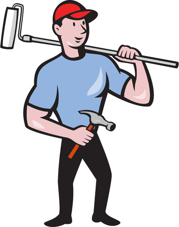 Illustration of a house painter holding paint roller on shoulder holding hammer viewed from front set on isolated white background done in cartoon style. Vector