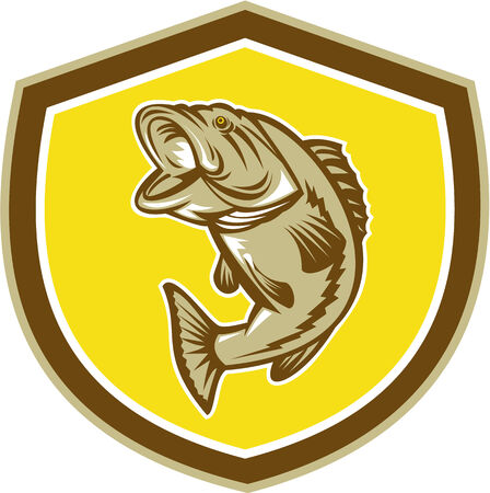 largemouth: Illustration of a largemouth bass fish jumping inside a shield crest done in retro style.