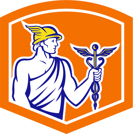 mercury staff: Illustration of Roman god Mercury patron god Illustration