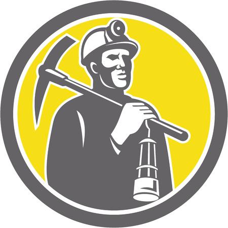 Illustratie van een mijnwerker helm met gekruiste pikhouweel en lamp binnen een cirkel gedaan in retro stijl.