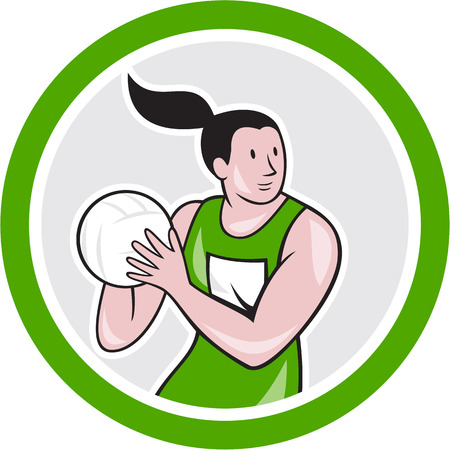 Illustration of a netball player catching rebounding ball set inside circle on isolated white background done in cartoon style.  Illustration