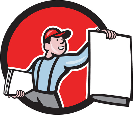 Illustration of a newsboy shouting selling newspaper set inside circle on isolated background done in cartoon style. Reklamní fotografie - 28374086