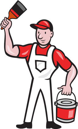 """""""paint can"""": Illustration of a house painter holding paint can and paintbrush on isolated white background done in cartoon style."""