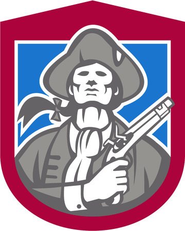 flintlock pistol: Illustration of an American Patriot with flintlock pistol facing front set inside crest shield on isolated background done in retro style. Illustration