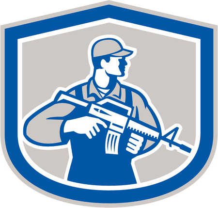 assault rifle: Illustration of an American soldier serviceman with assault rifle facing side set inside crest on isolated white background. Illustration