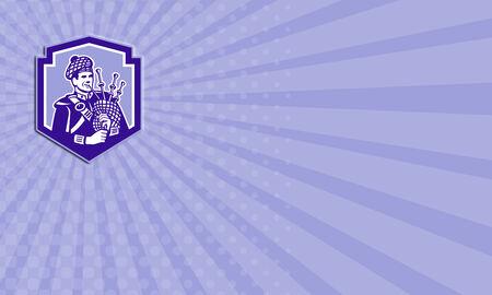gaita: Tarjeta de negocios que muestra la ilustraci�n de un gaitero escoc�s tocando la gaita, vistos de frente conjunto dentro de escudo protector en el fondo aislado hecho en estilo retro. Foto de archivo