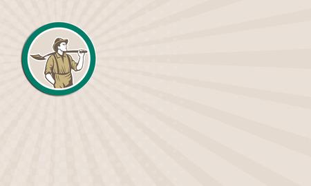 prospector: Tarjeta de negocios que muestra la ilustración de un minero prospector llevaba sombrero con pala frontal hacia dentro del círculo hecho en estilo retro en el fondo aislado. Foto de archivo
