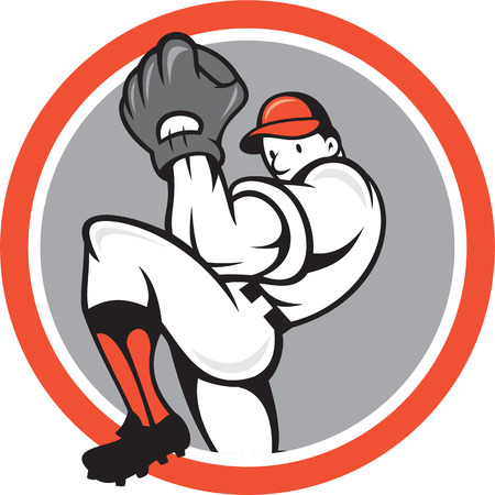 Illustration of a baseball player pitcher outfilelder on isolated background set inside circle round shape done in cartoon style Vector