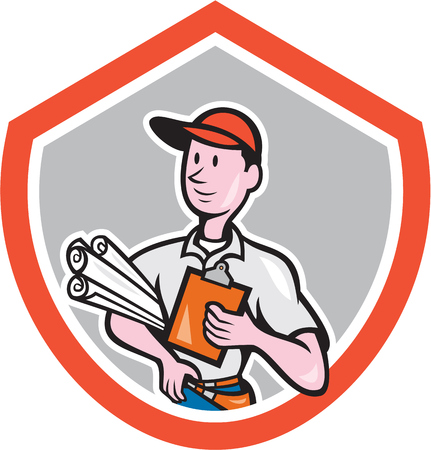 arquitecto caricatura: Ilustración de un trabajador de la construcción constructor carpintero arquitecto con los planes y portapapeles miran al lado dentro de cresta escudo hecho en estilo de dibujos animados sobre fondo aislado.