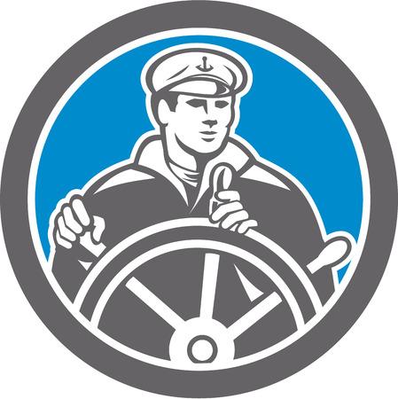 roer: Illustratie van een visser zee kapitein op het wiel roer naar de voorkant set binnen cirkel gedaan in retro stijl.