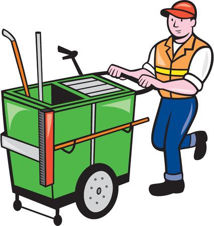 recolector de basura: Ilustración de un trabajador barrendero empujando un carrito de limpieza visto de frente en el fondo aislado hecho en estilo de dibujos animados.