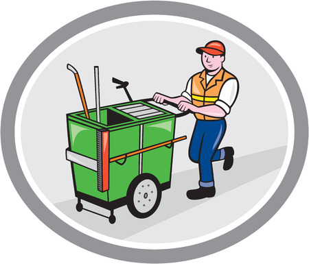 Illustration of a street cleaner worker pushing a cleaning trolley viewed from front set inside an oval circle on isolated background done in cartoon style.