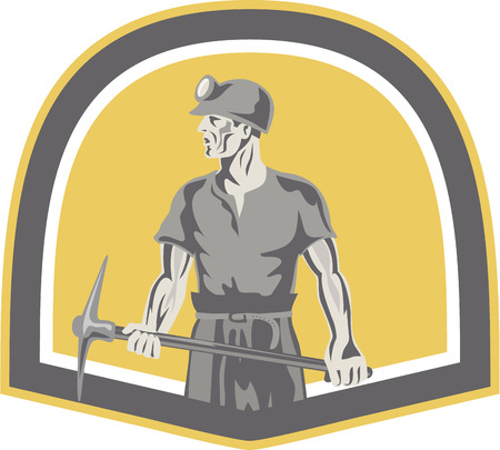 pick axe: Illustration of a coal miner wearing hardhat looking to the side holding a pick axe  set inside shield crest done in retro style.