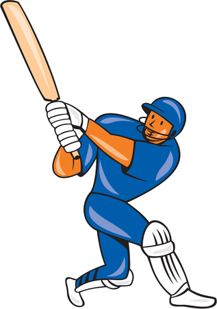Illustration of a India cricket player batsman with bat batting colors done in cartoon style on isolated background. Vector