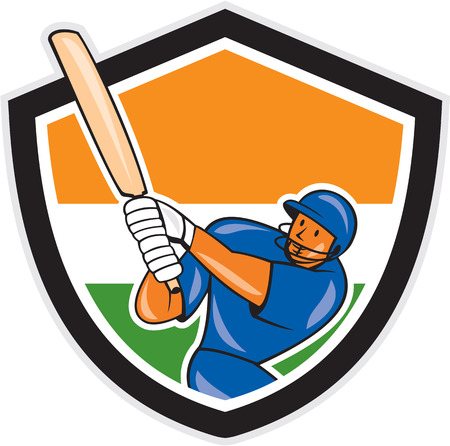 Illustration of a India cricket player batsman with bat batting set inside shield with Indian flag colors done in cartoon style on isolated background. Vector