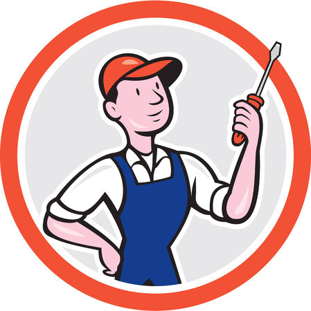 Illustration of an electrician worker holding a screwdriver facing side on isolated white background done in cartoon style set inside a circle. Vector