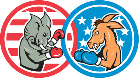 gop: Illustration of a democrat donkey mascot of the democratic grand old party gop and republican elephant boxer boxing set inside two circle with American stars and stripes done in cartoon style.