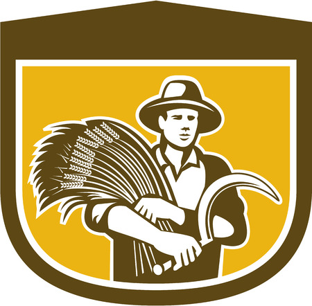 farm worker: Illustration of wheat farmer with crop produce harvest and holding scythe facing front set inside shield crest shape in background done in retro style. Illustration