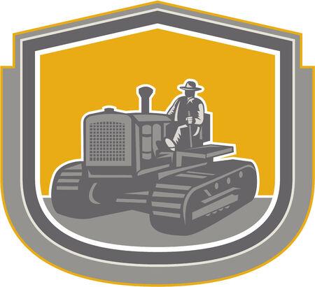 arando: Illlustration de una conducción trabajador campesino montado en un campo de la granja tractor arando la vendimia fijó dentro cresta escudo hecho en estilo retro en el fondo aislado. Vectores